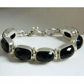 Faceted Onyx Sterling Bracelet.310.JPG