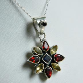 Mixed Gemstone Floral Pendant.85.JPG