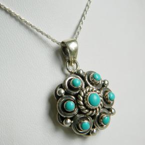Turquoise Sterling Detailed Handwork Pendant.148.JPG