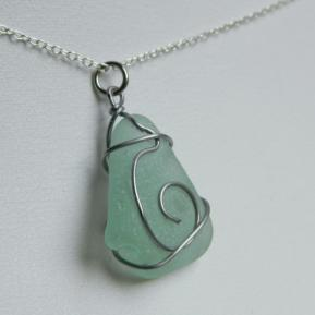 Spiral Sea Glass Pendant.2.Sea Foam.JPG